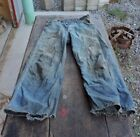 Rare Used Mens Boys Blue Denim Jeans Pants Buckle Back Old Clothes