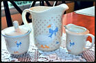 3-PC Tienshan Stoneware-China Pitcher, Creamer & Sugar Goose W/Hearts & Blue VGC