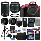 Nikon D5500 DSLR Red Camera 32GB 4 Lens Kit 18 55mm VR + 70 300mm Best Value