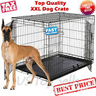 Extra Large Dog Kennel Crate 48 Folding Pet Cage Metal 2 Doors Tray Pan XL XXL