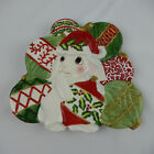 Fitz and Floyd Christmas Bunny Blooms Canape Plate 2004