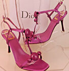 NIB CHRISTIAN DIOR FUSCHIA SATIN BOW T STRAP HEEL SANDALS 395