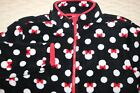 Disney Store black white red MINNIE MOUSE polka dots fleece zippered jacket L EC