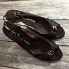 Nina Womens Satin Slingback Heels Shoes Open Toe Sandal Brown Size 85 M