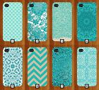 Turquoise Pattern Phone Case Mint Green Light Dark Mint Marble Rhinestone PC134