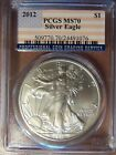 2012 American Silver Eagle 1 Oz MS70 PCGS Special Large Flag Label