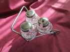 Vtg Salt Pepper Condiment Set Pressed Glass Metal Wheelbarrow made in Taiwan
