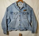 VTG Lee Classic Trucker Blue Denim Jean Jacket 2XL Embroidered Worn Torn A1719