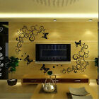 Beautiful Brown Flower Vine With Butterfly Wall Sticker For Living Room Bedroom