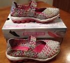 Skechers Skech Air Bounce Shoe SZ 15 Silver Pink Mary Jane Sneakers Glitzy Fitz