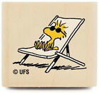 New Peanuts SUNBATHING WOODSTOCK Tiny Wood Rubber Stamp Stampabilities Chair Tan