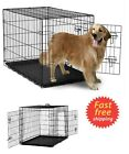 Large Dog Crate Kennel 42 Folding Metal Wire Cage 2 Doors Pet ABS Pan XL Black