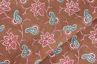Antique French chintz cotton brown blue red material c 1900 unused