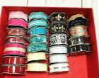 LRG Lot RIBBON THE PAPER STUDIO NEW 24 Rolls Color Variety Design 3 8in + 5 8in
