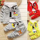 3pcs Kids Baby Boys Girls Outfit Set Mickey Mouse Coat Shirt Pants Tops Clothes