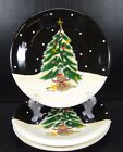 Certified International Midnight Santa Set of 3 Salad Plates Becca Barton