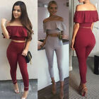 Ladies 2 Piece Frill Crop Top Pencil Set Midi Bodycon Bardot Shoulder Suit Pants