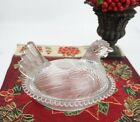 VINTAGE INDIANA CLEAR GLASS CANDLEWICK BASE HEN ON NEST COVERED CANDY DISH 7