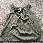 Ann Taylor LOFT Womens Large Army Dark Green Sleeveless Blouse A96