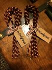 1 PAIR ~ 12 TOTAL ~ GrUnGy pRiMiTivE CANDY CANES ChRiStMaS OrNaMeNtS w/hAnG TaG
