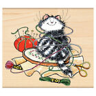 New Penny Black EMBROIDERED Wood Rubber Stamp Kitty Cat Stitch Sew Decor Thread
