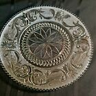 Vintage, ornate, pressed glass round platter with scalloped edging   ( E 2 )