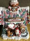 Fitz and Floyd Candy Lane Musical Gingerbread House Santa's Railroad Station