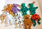 Lot of 8  Ty Beanie Baby 7 Bears and 1 Pumpkin  with Tags Erin Curly USA Cashew