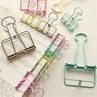 Unique Solid Color Hollow Out Metal Binder Clips Notes Letter Paper Clip F