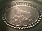 Gillinder Frosted Oval Plate, Central Wounded Lioness with Lion Handles
