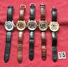 (15) JOB LOT of 5 Automatic Rotary watches, Sold as seen for parts or repair.