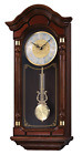 Grandfather Wall Clock Mounted Chime Hanging Vintage Colonial Antique Oak Case