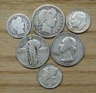 SIX DIFFERENT VINTAGE SILVER COINS 3 QUARTERS 3 DIMES