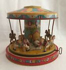 Vintage 1950s J Chein Playland Merry Go Round Carousel Tin Litho Wind Up Toy