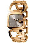 NEW G-Gucci Women's Gold-Tone PVD Stainless Steel Large Bracelet Watch YA125408