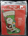 Vintage Bucilla Christmas Stocking Jeweled Felt 1960s Kit Applique Santas Lap