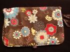 THIRTY ONE Multi Color Brown Floral Bi Fold  Go Organizer w 2 Zip Compartments