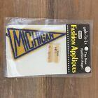 VINTAGE MICHIGAN EMBROIDERED PENNANT PATCH 3 3 4 NIP YELLOW BLUE