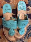 Womens Jack Rogers sz 6 M Turquoise Western Navajo Style Sandals Slip On Shoes