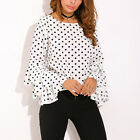 New Style Womens Bell Sleeve Loose Polka Dot Shirt Ladies Casual Blouse Tops