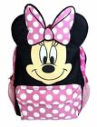 12 Disney Minnie Mouse Face Back to School Backpack Small Bag with 3D Ear