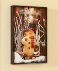 Country Snowman Dcor This Little Light of Mine Lighted Wall Art