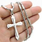 Silver Cross Men Stainless Steel Charm Pendant tube box 22 Chain Necklace Set