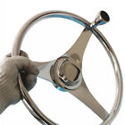 Stainless Steel Steering Wheel 13 1 2 Dia 3 Spoke with Knob for Boat Marine