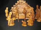 Hand carved Bethlehem Olive Wood Nativity Creche Set with Stable 14 Piece LARGE