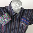 Robert Graham Button Front Shirt Purple Gray Stripe Flip Cuffs Sz XL