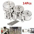 14Pcs Diamond Coated Core Hole Saw Bit Drill Set For Tile Marble Glass 3-70mm BS