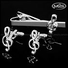 US Treble Clef Musical Note Silver Mens Cufflinks Tie Bar Clip Clasp Set