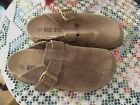 RED STONE Lt Brown SUEDE LEATHER CLOG MULE LOW BACK SIZE 8 EUC