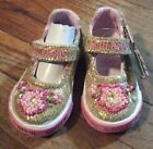 Lelli Kelly 21 Pink Sequins Bead Flower Velcro Girl Shoe 5 Toddler 12 18 mon BN